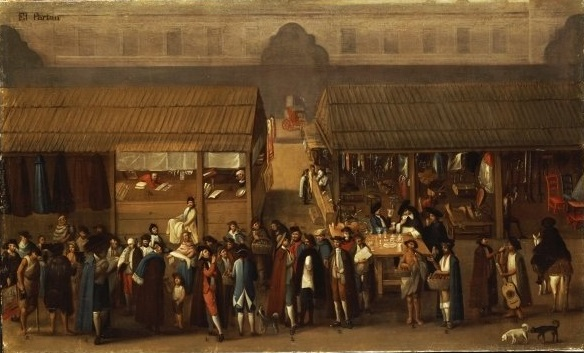 Painting c. 1770 of the Parián or market in Mexico City's main square or Zócalo. The Parián, named after the Chinese district in Manila, featured Asian merchants and goods.