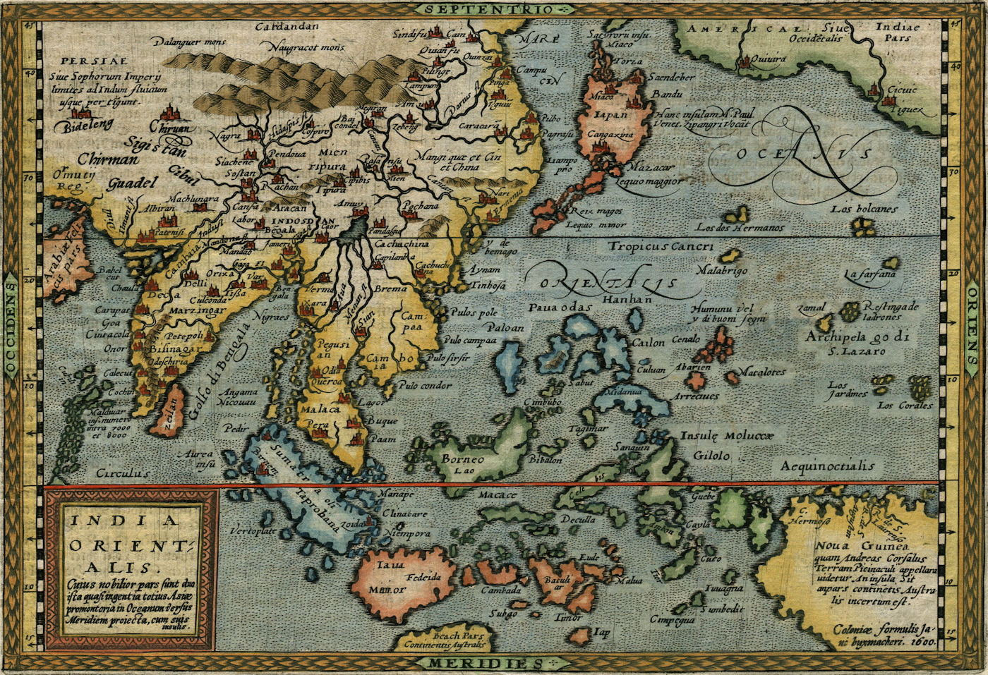 An early map of Southeast Asia by Matthias Quad (Cologne, 1600, collection Juan José Morales)