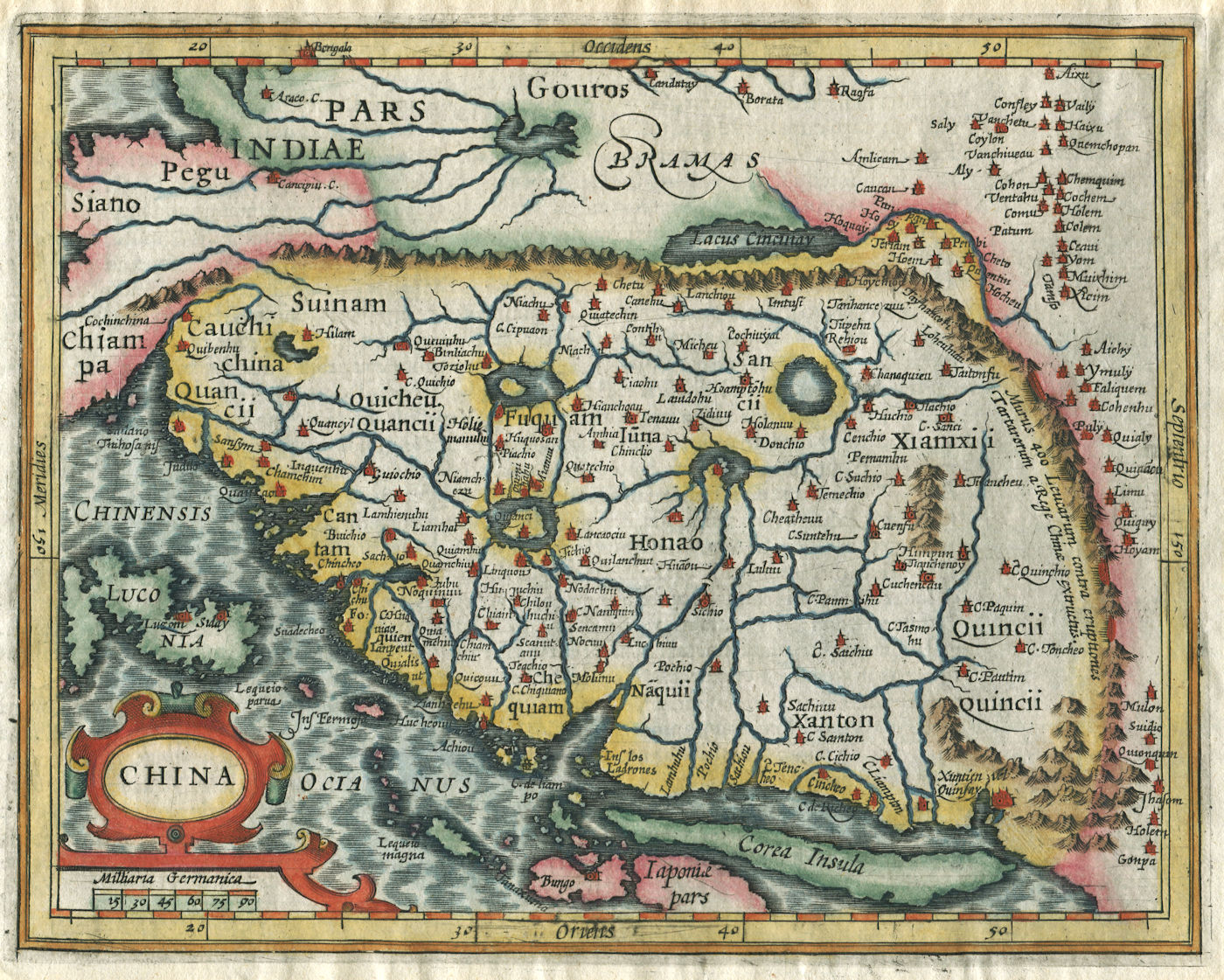 Jodocus Hondius's 'reduced' map of China (Amsterdam, 1607) (collection of Juan José Morales)