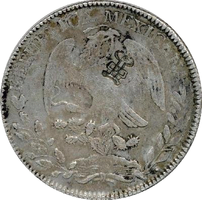 An 1853 Mexican 'eagle dollar' showing a chop mark