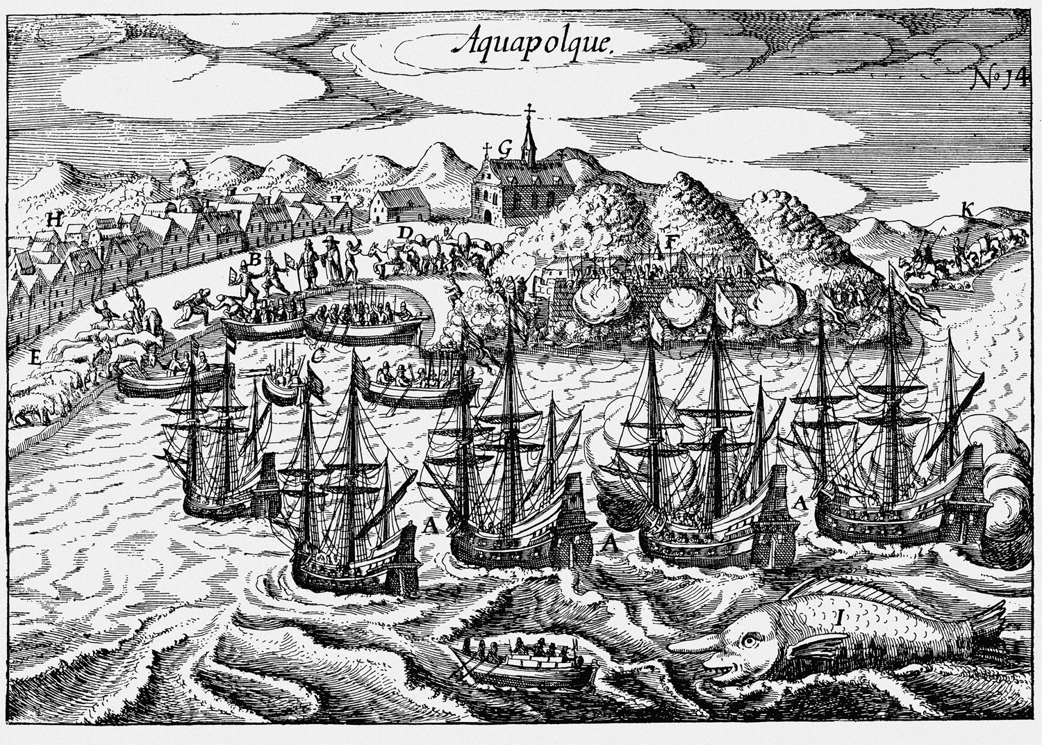 'Aquapolque' (Acapulco) by Nicolaes van Geelkercken, engraving, from 'East and West Indian Mirror' (1619) (Tom Christensen, from '1616: The World in Motion', Counterpoint Press, 2012)
