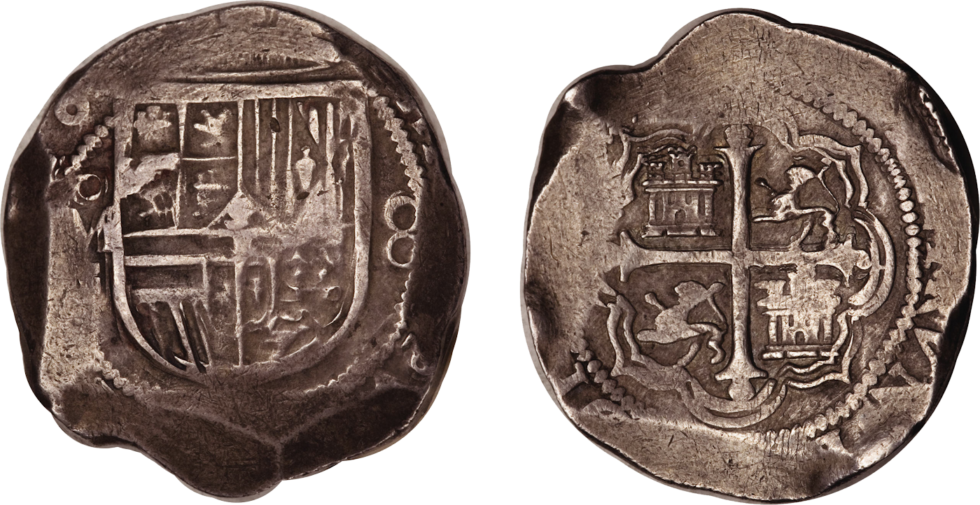 'Cob' 8 reales, Philip III (Mexico, 1610) (Image via Heritage auctions)