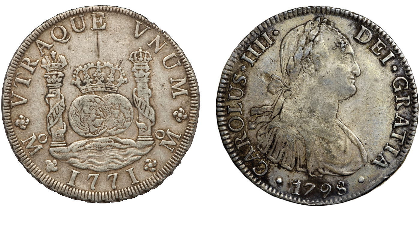 Charles III 'pillar dollar' (Mexico, 1771) and Charles IIII portrait dollar (Mexico, 1798) (Images via Heritage Auctions)