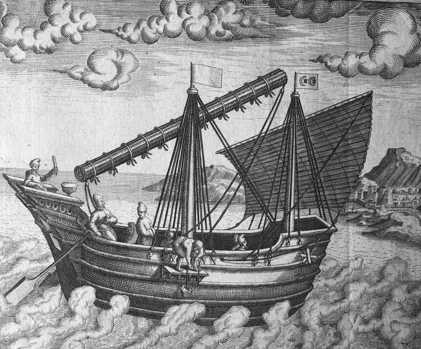 Theodore de Bry 'Navigational vessel of China' (from Latin edition of Les Grands Voyages, Frankfurt, 1602), one of the earliest Western depictions of a junk (collection, Juan José Morales)