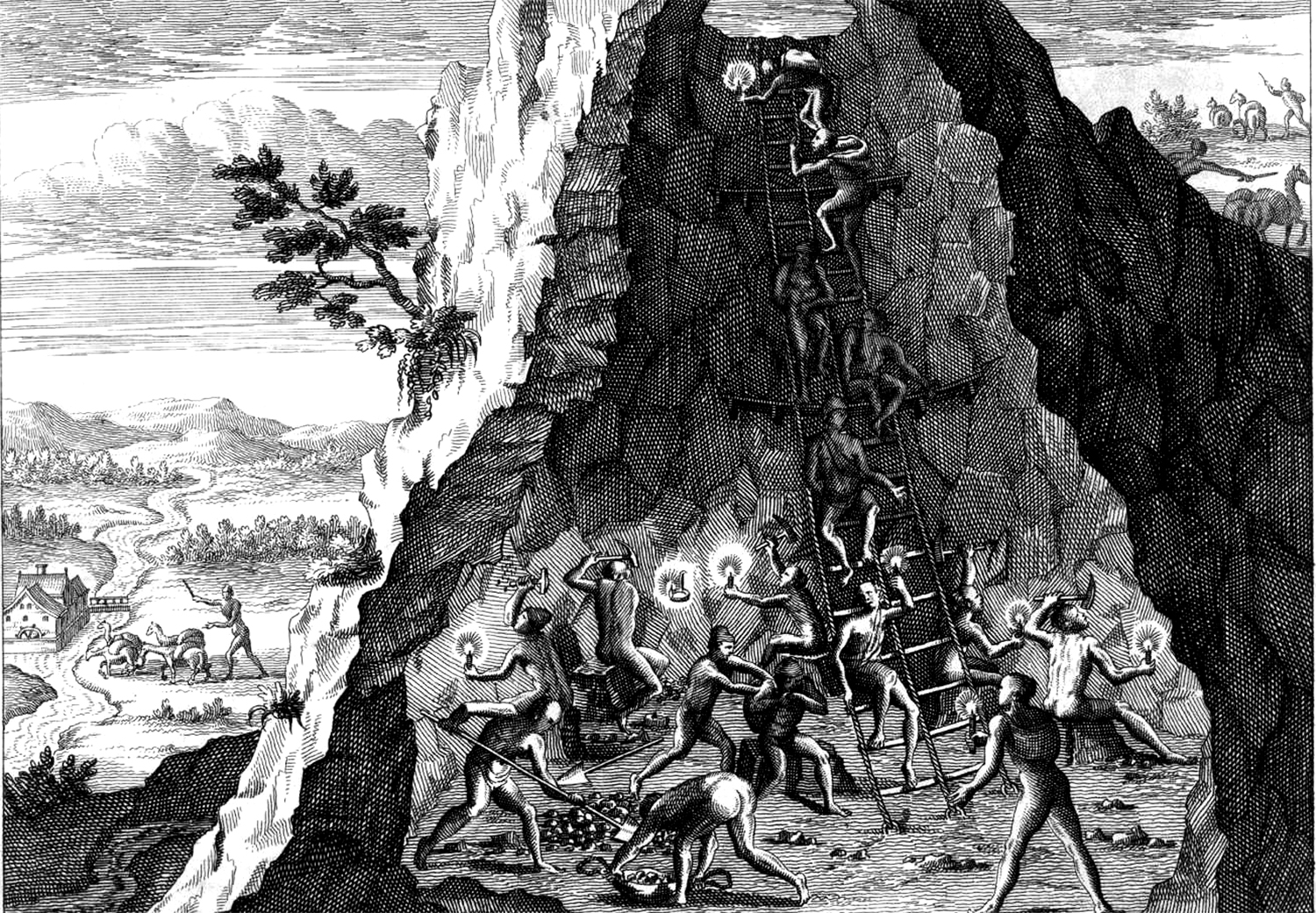 Theodore de Bry, miners in Potosí, engraving (1590) (Tom Christensen, from 1616: The World in Motion, Counterpoint Press, 2012)