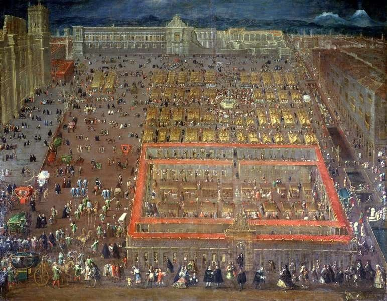View of the Plaza Mayor of Mexico city, Cristóbal de Villalpando (1695)